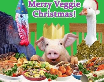 Seasonal Veggies - Merry Veggie Christmas - Vegetarian Christmas Card