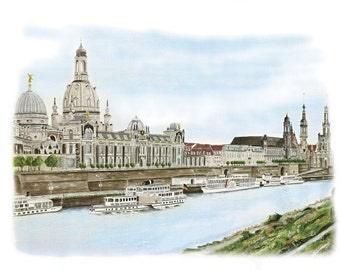 Look at the Dresden Altstadt - color - original signed art print