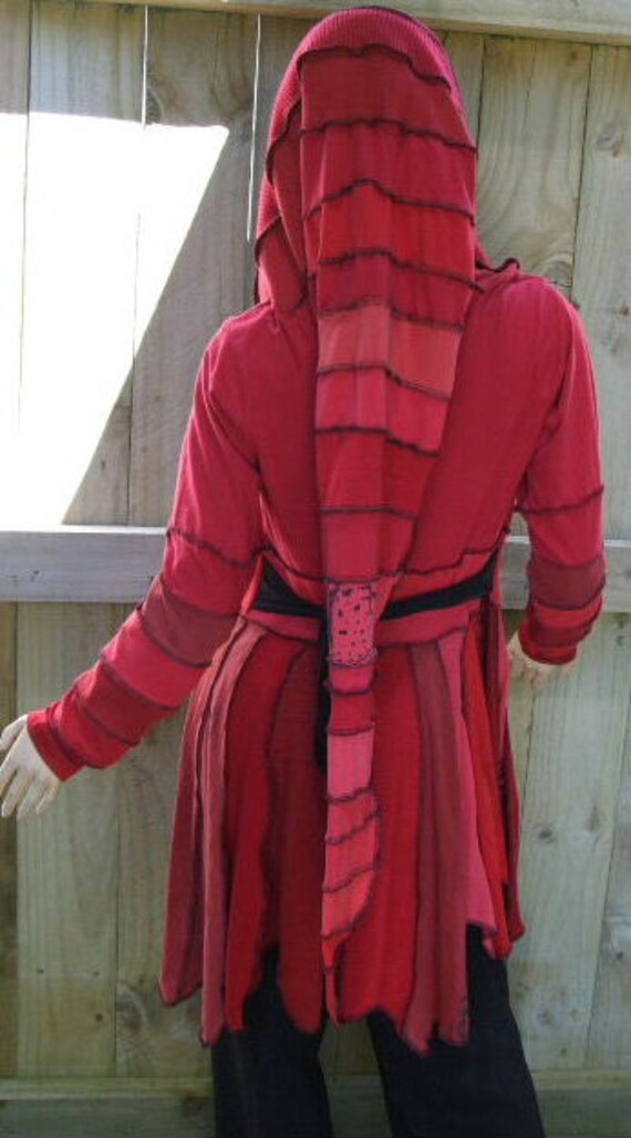 Red Remade Pixie Coat with Pixie Hood