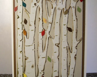 Birthday Card, Fall Birthday card, Birch tree card, Masculine card, Feminine card, Handmade card, Greeting card, Handcrafted card,
