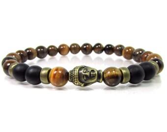 Tiger Eye and Onyx Bracelet 8mm beads,Buddha Bracelet,Mens Bracelet,Men Gemstone Bracelet,Handmade Bracelet,Bracelet for Men,Beaded Bracelet