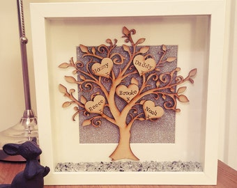 Beautiful sparkly handmade family tree box frame.