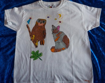 T-Shirt for kids 7/8 years, drawn pattern by hand, OWL and cat, pets