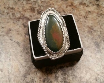 The big kahuna - sterling silver blood stone ring