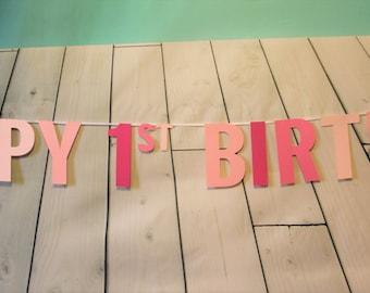Shades of Pink Birthday Banner