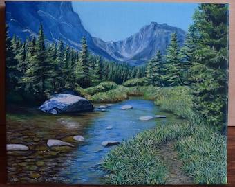 Oil painting Mountain landscape River