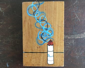 Original small gouache illustration painting, recycled wood