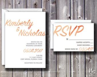 Coral Watercolor Printable Wedding Invitation & RSVP