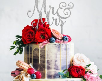 Mr. and Mrs. Wedding Cake Topper - Acrylic Silver Glitter