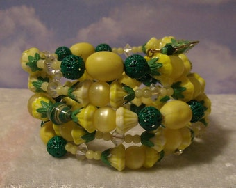 Yellow Rose  handmade vintage wrap bracelet