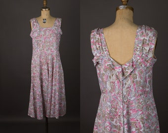 vintage 1950s maternity dress | novelty print sundress