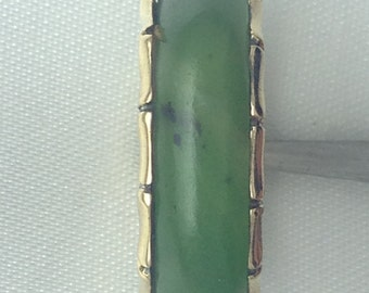 Jade wedding band in 14k yellow gold