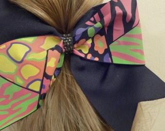 Cheer Bow in Neon Leopard Cheetah print