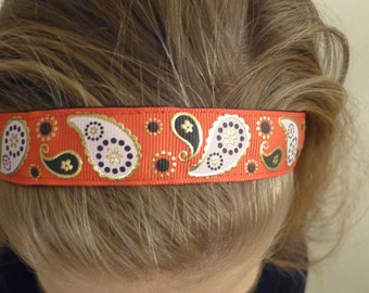 Non-slip Adjustable Headband Paisley with red white and gold