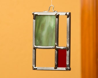 Frank Lloyd Wright Inspried Stained Glass Ornament