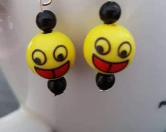 Laughing smiley black and yellow drop earrings
