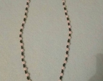 Black and Pale Pink Beaded Necklace