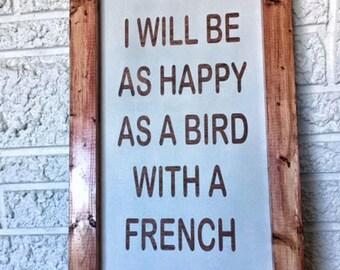 CLEARANCE!  1/2 OFF!  Bird with a French Fry, Be Happy, Happy Art, Beach House, Coastal Decor