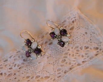 Silver earrings.  Sterling silver with Amethyst, Opal, pearl earrings. French vintage. Never worn.