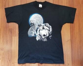 Wolf Shirt, Wolf Moon Shirt, Wildlife Shirt, Howling Wolf Shirt, Size Mens M, Womans L DEADSTOCK