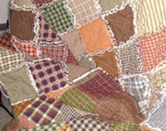 Lap Size Patchwork Throw Rag Quilt, Made to Order, Primitive Homespun Fabrics, Reversible, Farmhouse, Country Quilt, Rustic