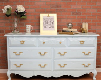 SOLD! French Provincial Vintage Dresser in Sea Ice *SOLD*