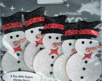 Snowmen Christmas Glitter Foam Scrapbook Stickers Petaloo Embellishments Cardmaking Crafts