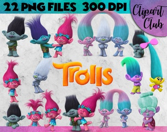 Trolls Clipart - 22 PNG's Transparent Backgound - 300 DPI Instant Digital Download - trolls clipart, images, High quality, trolls the movie