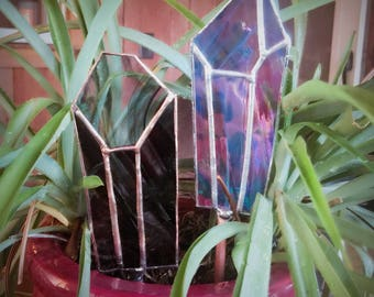 Purple Irredescent Stained Glass Crystal Plant Stake, Garden Stake