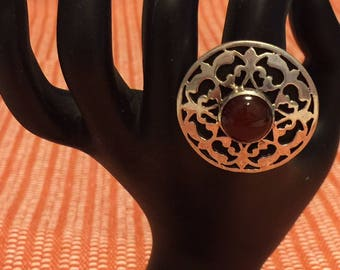 Sterling Silver Handmade Egyptian Ring with Dark Amber Acrylic Stone