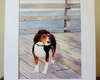 Beagle Watercolor, Ocean, Beagle Portrait Watercolor, Beagle Lover, Dog Lover, Watercolor with Mat, Good Cause Item, Donation, Animal Rescue