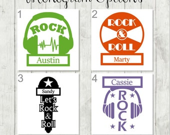 Personalized Music Decal - Custom Record Decal - Headphones Decal - Music Studio Decal - Rock Decal - Rocker Decal - Gift for Music Teacher