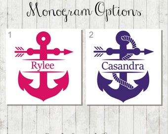 Personalized Anchor Decal, Anchor With Name, Anchor Decal, Anchor Monogram Decal, Anchor Sticker, Anchor Car Decal, Custom Anchor Gift