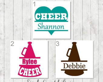 Cheer Decal, Personalized Cheer Decal, Cheer Name Decal, Cheerleader Decal, Cheer Team Gift, Cheer Coach Gift, Cheer Mom Gift, Cheer Gifts