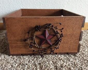 Primitive country wood bin Rustic storage bin Family room organization Storage Wood crate Housewarming Home decor