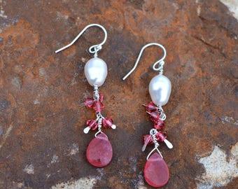 pearl and watermelon quartz dangle earring