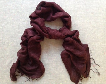 100% Raw Silk Fair Trade Scarf PLUM vegetarian handwoven