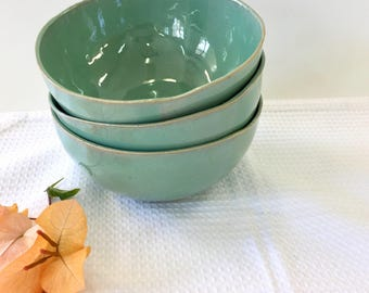 Soup bowl, Ceramic bowl, Mixing bowl, turquoise bowl, Small bowl, Serving bowl, Cereal bowl, Pottery bowl, serving dish, green bowl