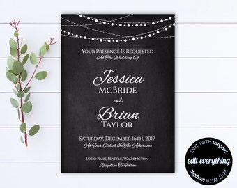 Chalkboard Wedding Invitation Template - String Lights Wedding invitation - Rustic Invitation - Chalkboard Invite - Wedding Invitations