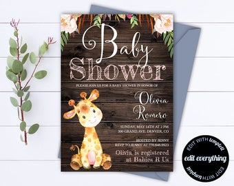 Rustic Baby Shower Invitation Template - Girl Baby Shower Invite - Giraffe Baby Shower Template - Rustic Baby Girl Shower invitation