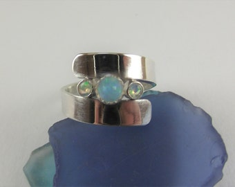 Three WHITE OPALS Set in Wide Sterling SILVER Band, Size 8