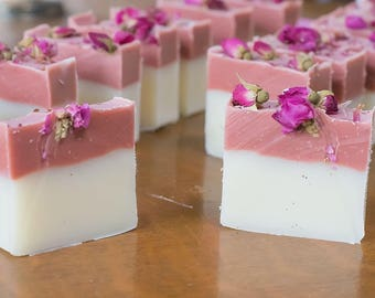 Pink soap, all natural soap, rose clay soap, english rose soap, rose soap, flower soap, novelty soap, artisan soap, vegan soap, feminine