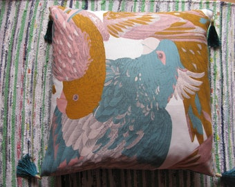 Cushion exotic parrots, teal, yellow, cotton and linen 50 x 70