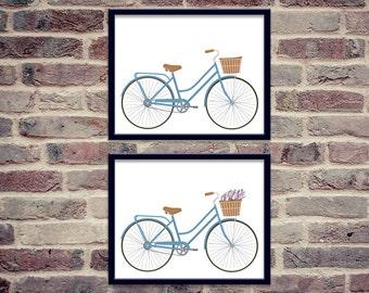 Vintage Blue Bicycle with Basket Printable Bundle | 8x10 | Bike with Basket of Flowers| Wall Art Print