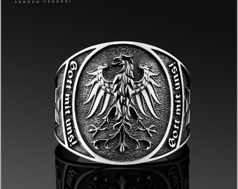 Mens Ring Band Seal Ring 'God with us' Federal Eagle by SANDRO VERARDI /R002