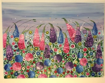 Flowers, Floral wall art, large painting, floral painting, splatter art, flower art, colouful, bright, pinks, blues, purples, Day Dreamer
