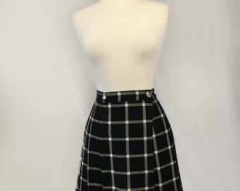 Large Wool Black Plaid Mini Skirt