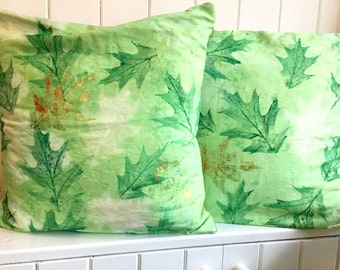 Leaf Print Mixed Media Cushion