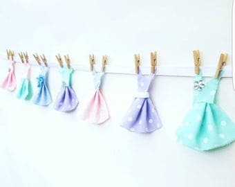 Dress Bunting, Fabric bunting, pastel garland, dress garland, photography prop, nursery bunting, shabby chic bunting, pastel banner