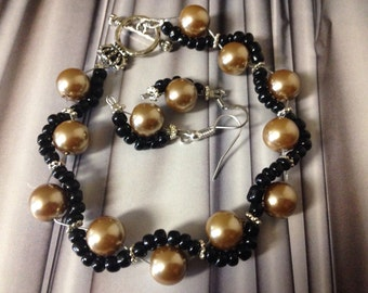 Wrap Bead Bracelet & Earrings